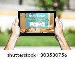 hotel deals website in a tablet ... | Shutterstock . vector #303530756