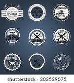 gun shop logotypes and badges    Shutterstock .eps vector #303539075