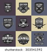 gun shop logotypes and badges  | Shutterstock .eps vector #303541592
