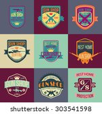 gun shop logotypes and badges  | Shutterstock .eps vector #303541598