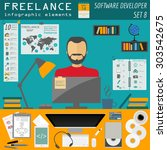 freelance infographic template. ... | Shutterstock .eps vector #303542675
