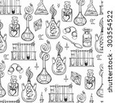 seamless pattern of alchemy... | Shutterstock .eps vector #303554522