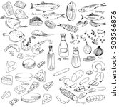 meat  fish and cheese  vector... | Shutterstock .eps vector #303566876