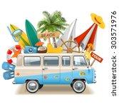 vector beach concept with bus | Shutterstock .eps vector #303571976