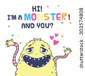 monster illustration with word  ... | Shutterstock .eps vector #303574808