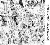 Handmade Collage Of Newspaper...