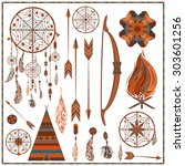 set elements ethnic style.... | Shutterstock .eps vector #303601256