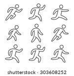 outline figure set of runners.... | Shutterstock .eps vector #303608252