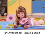 child in the nursery playing... | Shutterstock . vector #303611585