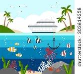 background with passenger ship   Shutterstock .eps vector #303614258