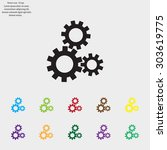 flat icon of gears | Shutterstock .eps vector #303619775