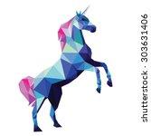 unicorn low poly design vector...   Shutterstock .eps vector #303631406