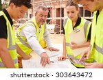builder on building site... | Shutterstock . vector #303643472