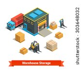 wholesale warehouse storage... | Shutterstock .eps vector #303648032