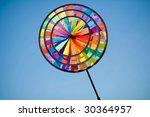 plastic pinwheel on the blue...   Shutterstock . vector #30364957