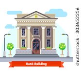 facade of a bank building with... | Shutterstock .eps vector #303652256
