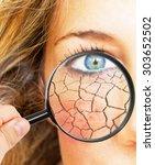 skin folds under a magnifier... | Shutterstock . vector #303652502