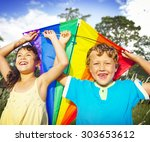 brother sister sibling playing...   Shutterstock . vector #303653612