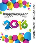 happy new year 2016 celebration ... | Shutterstock .eps vector #303655622