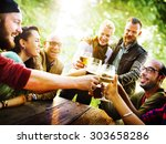 friends party outdoors... | Shutterstock . vector #303658286