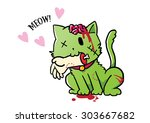 zombie green cat giving a hand... | Shutterstock .eps vector #303667682
