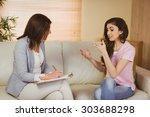 therapist listening to her... | Shutterstock . vector #303688298