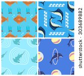 four fish seamless patterns... | Shutterstock .eps vector #303689882