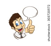 cartoon guy thumbs up character ... | Shutterstock .eps vector #303720572