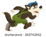 cartoon wolf   illustration for ... | Shutterstock . vector #303742832