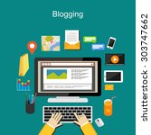 blogging illustration concept. | Shutterstock .eps vector #303747662