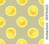 seamless fruits pattern with... | Shutterstock .eps vector #303761012