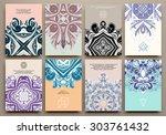 set of vintage ornamental... | Shutterstock .eps vector #303761432