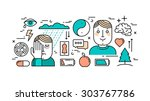 thin line flat design concept... | Shutterstock .eps vector #303767786