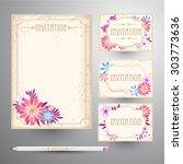 invitation card suite. retro...   Shutterstock .eps vector #303773636