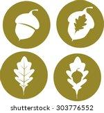 oak leaves and acorn icons | Shutterstock .eps vector #303776552