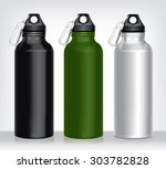 aluminum bottle water isolated... | Shutterstock .eps vector #303782828