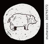 hippo doodle | Shutterstock .eps vector #303793772