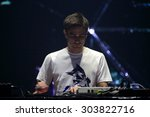 Small photo of FERROPOLIS, GERMANY - JULY 19, 2015: British DJ and remixer Jon Hopkins on stage at MELT Festival on July 19, 2015 in Ferropolis.