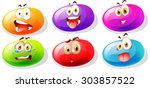 jelly beans with faces... | Shutterstock .eps vector #303857522