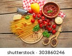 pasta spaghetti with tomatoes ... | Shutterstock . vector #303860246