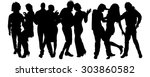 vector silhouette of a group of ... | Shutterstock .eps vector #303860582