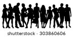 vector silhouette of a group of ... | Shutterstock .eps vector #303860606