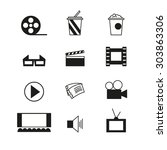 cinema sign and symbol vector... | Shutterstock .eps vector #303863306