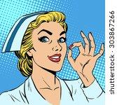 nurse okay gesture. medicine... | Shutterstock .eps vector #303867266