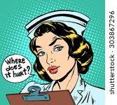 where does it hurt nurse...   Shutterstock .eps vector #303867296