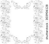 frame vintage baroque flowers... | Shutterstock .eps vector #303906128