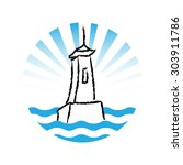 vector lighthouse logo on white ... | Shutterstock .eps vector #303911786