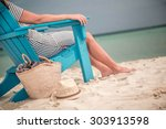 caribbean beach chair | Shutterstock . vector #303913598