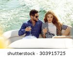 sexy couple on the luxury boat | Shutterstock . vector #303915725