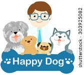 veterinarian and dogs different ... | Shutterstock .eps vector #303925082